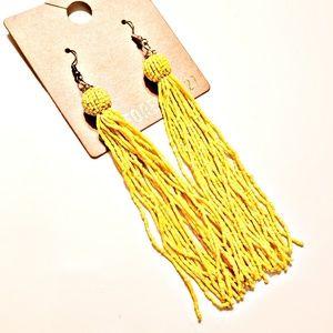 Long Yellow Tassle Bead Earrings
